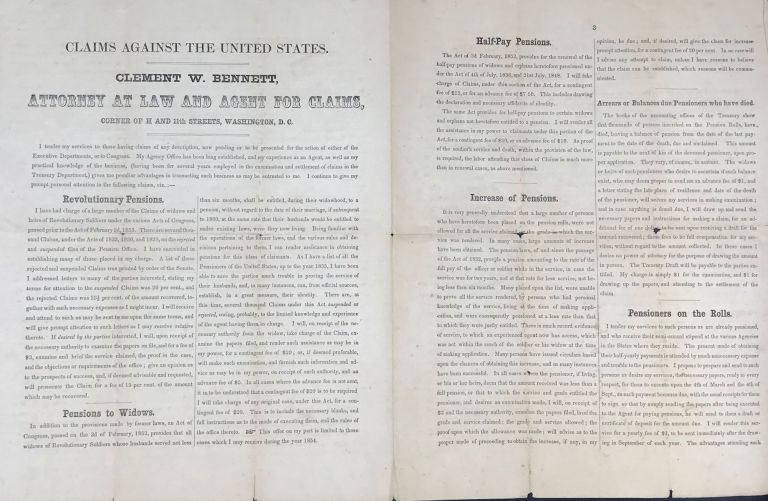 CLAIMS AGAINST THE UNITED STATES. CLEMENT W. BENNETT, ATTORNEY AT LAW AND AGENTS FOR CLAIMS, CORNER OF H AND 11th STREETS, WASHINGTON, D.C.