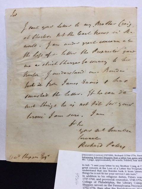 INFORMING EDWARD SHIPPEN THAT A LETTER HAS GONE ASTRAY, in an autograph letter, signed (but undated). Richard Peters, Rector of Christ Church in Philadelphia.