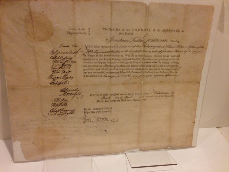 """APPOINTING A SECOND LIEUTENANT IN THE WORCESTER MILITIA IN APRIL, 1776, a partly printed document, completed in manuscript 4 April 1776, and signed by Lincoln and 15 other members of the """"Council of the Massachusetts-Bay, in New-England."""" Benjamin Lincoln, Revolutionary War soldier."""