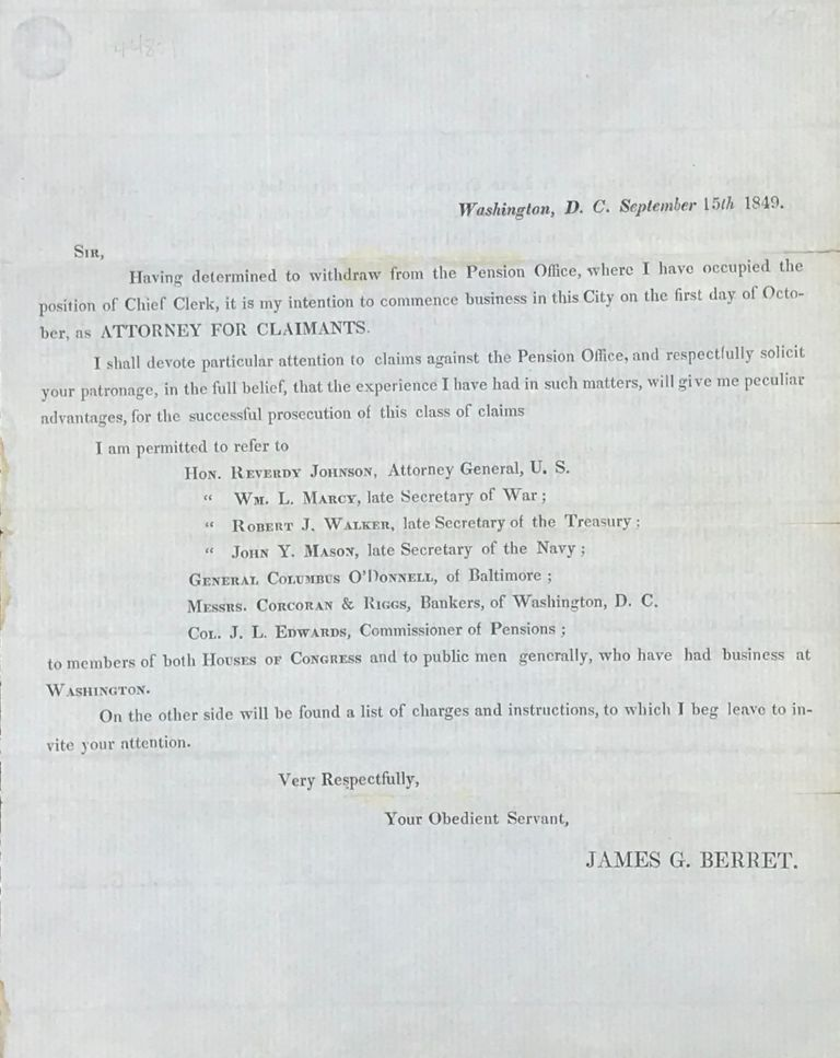 TWO PAGE CIRCULAR ADVERTISING BERRET'S SERVICES AS ATTORNEY FOR CLAIMANTS AGAINST THE PENSION OFFICE, DATED WASHINGTON, D.C., SEPTEMBER 15th, 1849. James G. Berret.