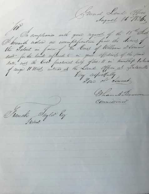 Confirming a land claim in a secretarial letter, signed 16 August 1836, from the General Land Office, to Frank Taylor. Governor of Ohio, U S. Senator, Commissioner of the U. S. Land Office.
