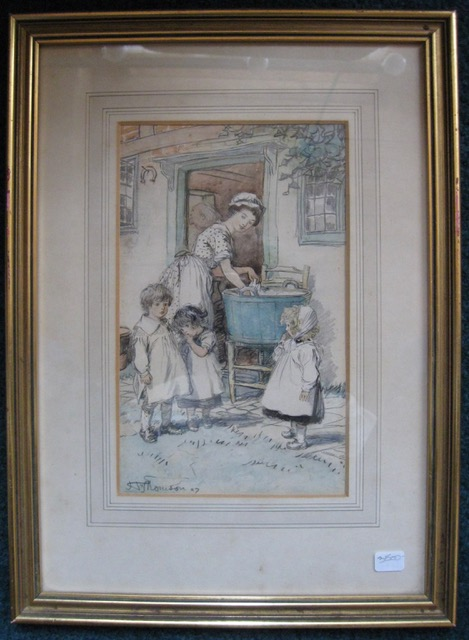 """Like Little Dogs Face to Face"" [title from published book illustration], a pen-and-ink drawing for his illustrated edition of George Eliot's ""Silas Marner,"" picturing a servant washing clothes while keeping an eye on Eppie being approached by two other children. Hugh Thomson, and pen-and-ink draughtsman."