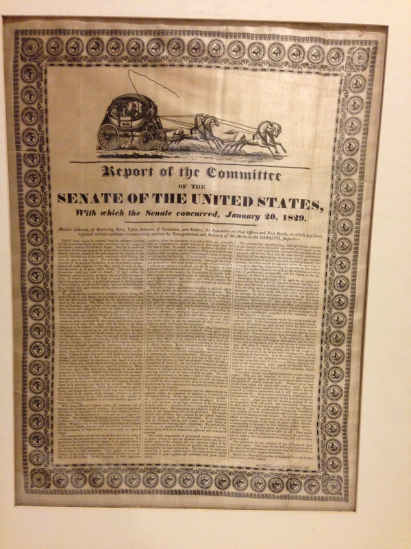 REPORT OF THE COMMITTEE OF THE SENATE OF THE UNITED STATES, WITH WHICH THE SENATE CONCURRED, JANUARY 20, 1829. Messrs. Johnson, of Kentucky, Ellis, Tyler, Johnson, of Louisiana, and Silsbee, the Committee on Post Offices and Post Roads, to which had been referred various petitions remonstrating against the Transportation and Delivery of the Mails on the SABBATH, Report:--; [followed by 14 paragraphs of dense text printed in three columns, each separated by a thin rule].