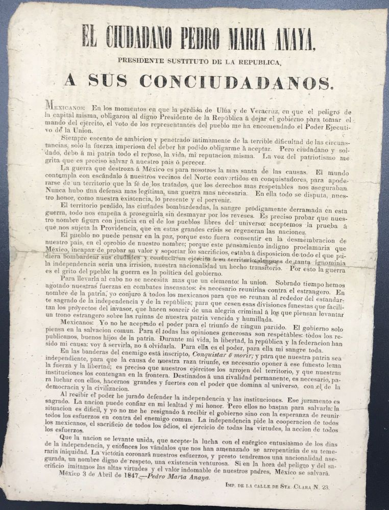 EL CIUDADANO PEDRO MARIA ANAYA, PRESIDENTE SUSTITUTO DE LA REPUBLICA, A SUS CONCIUDADANOS / [followed by 10 paragraphs of text]. Pedro Maria Anaya.