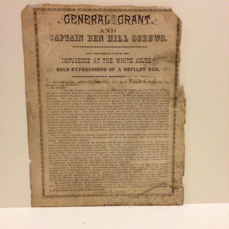 General Grant / and / Captain Ben Hill Screws. / [ornamental rule] / (New York Herald, June 29, 1876.) / Impudence at the White House! / Bold Expressions of a Defiant Reb. / [ornamental rule] / [followed by seven paragraphs, printing Screws' address to the President at his White House visit]