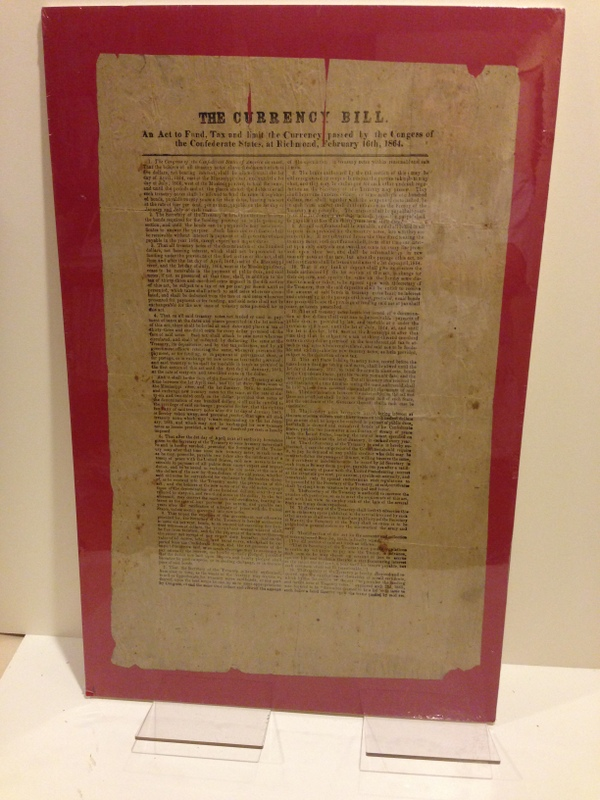The Currency Bill: / An Act to Fund, Tax, and Limit the Currency Passed by the Congress of / the Confederate States, at Richmond, February 16th, 1864. / [double-rule] / [followed by 18 numbered points to the act, printed in two columns separated by a thin rule]