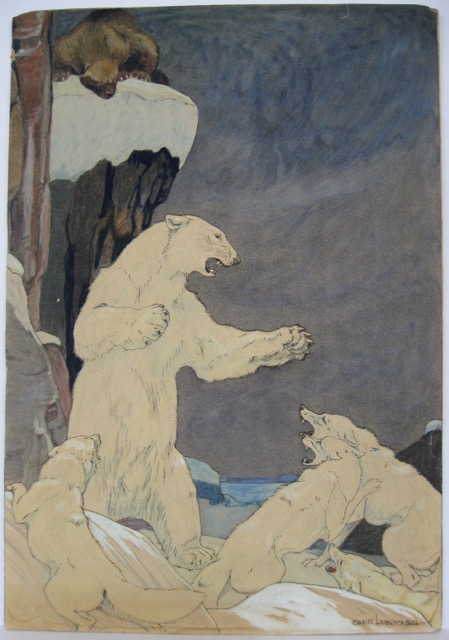 Polar bear fending off wolves [supplied title for the painting]. Charles Livingston BULL, American artist and.