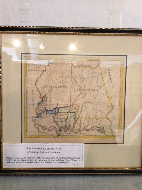 """Mississippi / and / Alabama,"" manuscript caption title in upper left corner od a manuscript map of those states, signed by the schoolgirl Frances Ann Tippetts in the lower right corner and dated by her ""1823."" Frances Ann Tippetts."