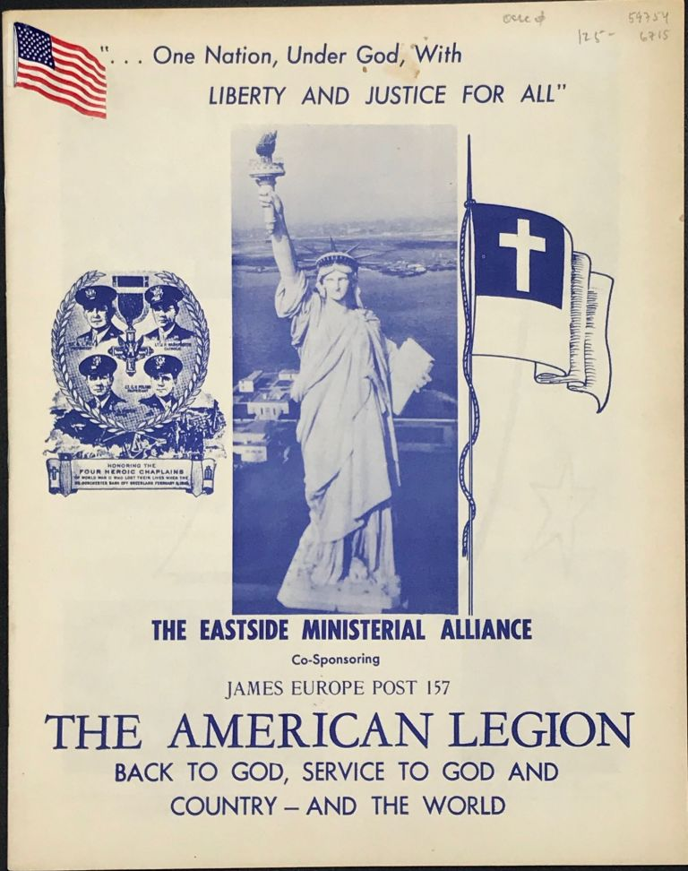 The American Legion: Back to God, Service to God and Country – and the World [cover title]