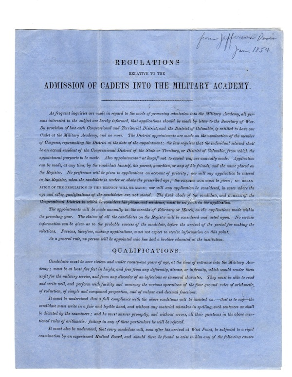 REGULATIONS RELATIVE TO THE ADMISSION OF CADETS INTO THE MILITARY ACADEMY. Jefferson Davis.