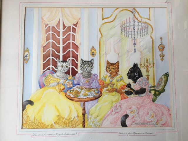 """HE SAID HE WAS A ROYAL SIAMESE."" (caption title) ORIGINAL WATERCOLOR DRAWING, SIGNED BY THE ARTIST. Dooley Dionysius."
