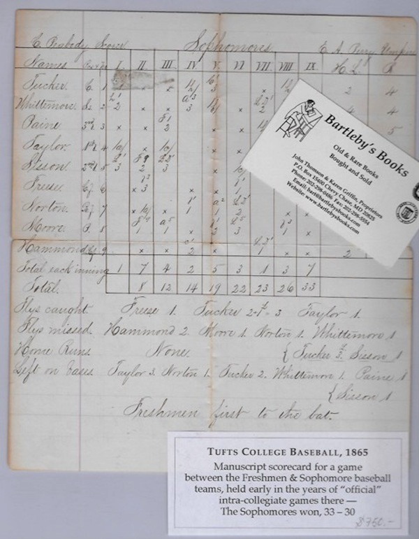 """Keeping score at the 1865 Tufts University baseball game between the sophomore and freshman classes, as recorded in an autograph scorecard, an inning-by-inning columnar account, set up similar to the scorecards in use today, showing the results of each at bat and with end-of- the-game summaries, including """"flies caught,"""" """"flies missed,"""" and """"left on bases"""" Baseball Manuscript, C. Peabody, """"scorer"""""""