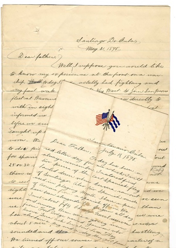 A HOSPITAL APPRENTICE ABOARD THE CRUISER USS NEW ORLEANS DURING THE SPANISH AMERICAN WAR RECORDS HIS EXPERIENCES IN FIVE LETTERS HOME, ACCOMPANIED BY AN ACCOUNT OF THE BOMBARDMENT OF SANTIAGO, AND THREE ORIGINAL PEN & INK AND PENCIL DRAWINGS. Harry S. Gregg, 1877-?