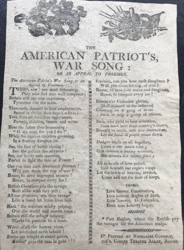 THE AMERICAN PATRIOT'S, WAR SONG: OR AN APPEAL TO FREEMEN.