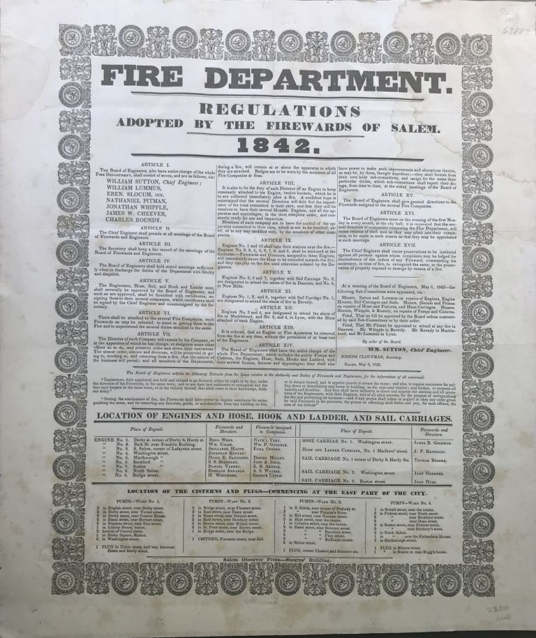 FIRE DEPARTMENT. Regulations Adopted by the Firewards of Salem. 1842.