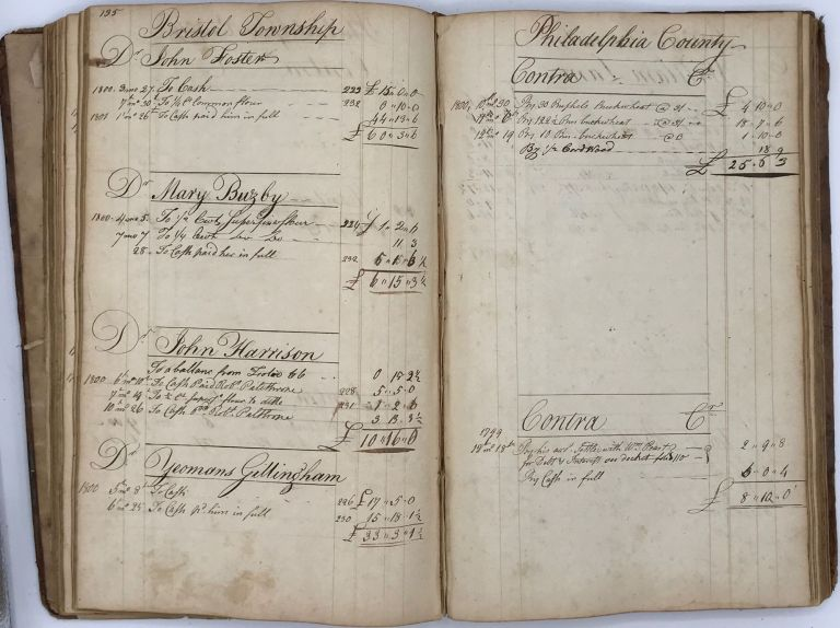 GRIST MILL LEDGER, ACCOUNTS KEPT BY ROBERT MORRIS, MILLER, BRISTOL TOWNSHIP, PHILADELPHIA COUNTY, PENNSYLVANIA, 1789-1802. Robert Morris, 1746-ca.1804?