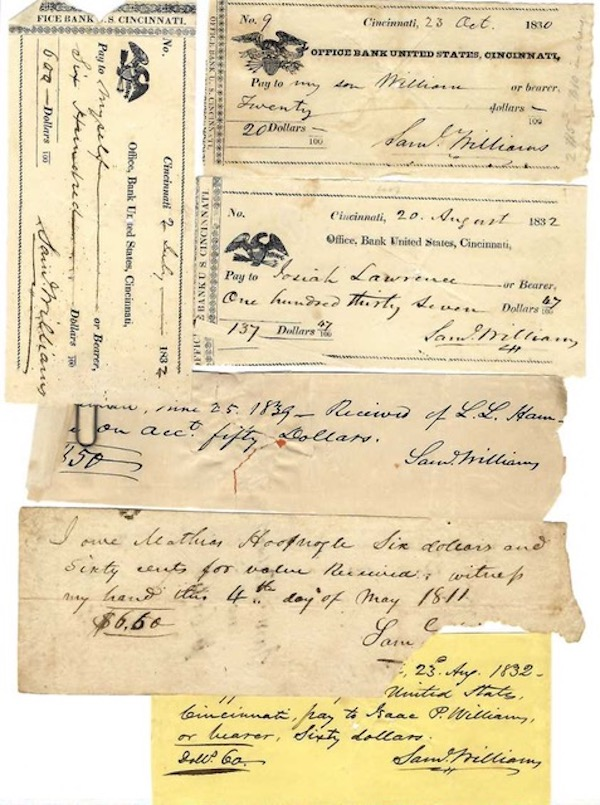 OFFICE BANK OF THE UNITED STATES (Second Bank of the United States) and The Ohio Life Insurance and Trust Company. Cancelled Personal Checks and Receipts Signed by Samuel Williams. Bank of the United States.