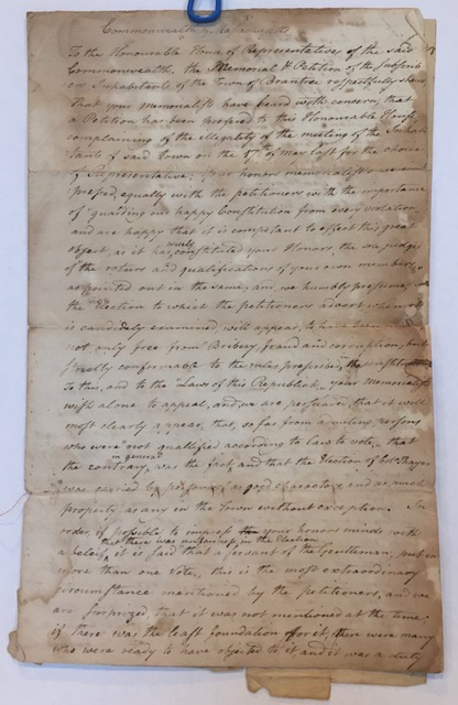 1787 MANUSCRIPT PETITION OF BRAINTREE MASSACHUSETTS Selectmen Defending the Legality of Their Vote for Col. Thayer. Addressed to the Commonwealth of Massachusetts. Signed by 65 townsmen.
