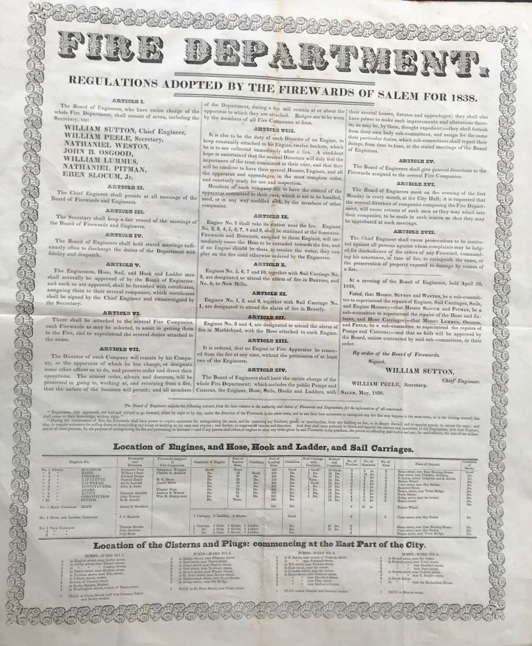 FIRE DEPARTMENT. Regulations Adopted by the Firewards of Salem for 1838. [Caption title]. William Sutton, Chief Engineer.
