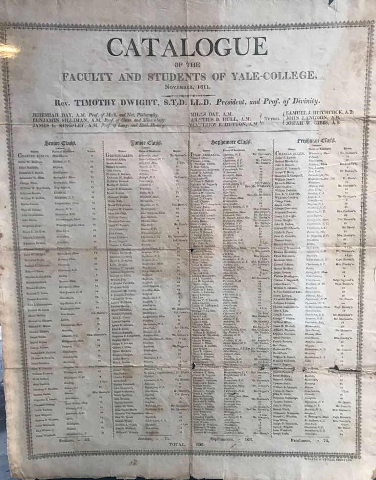 CATALOGUE OF THE FACULTY AND STUDENTS OF YALE-COLLEGE, November, 1811
