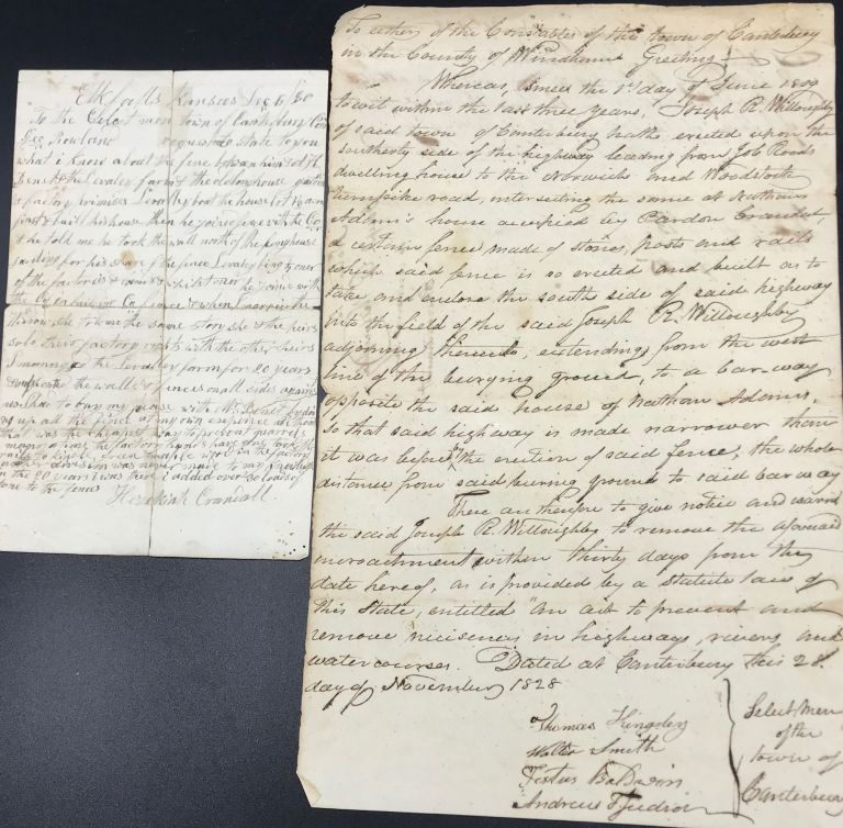 BOUNDARY DISPUTES ASSOCIATED WITH CRANDALL FAMILY MEMBERS, CANTERBURY, CONNECTICUT. TWO LEGAL PAPERS, DATED 1828 AND 1880, CONCERNING FENCES AND PROPERTY INFRINGEMENTS. Connecticut, Hezekiah Crandall.
