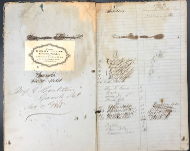 MERCANTILE ACCOUNT BOOK FROM GARROTE NO.1 [Groveland], TUOLUMNE COUNTY, IN GOLD RUSH ERA CALIFORNIA, RECORDING SUPPLIES PURCHASED BY MINERS, MOUNTAINEERS AND LOCAL BUSINESSES, 1855-59, ACCOMPANIED BY A LEDGER FROM THE HOTEL IN GARROTE OWNED BY ELIZABETH BOUTILLIER, 1866-1884, AND HER HUSBAND BENJAMIN L. SAVORY, AND BY A LEDGER BELONGING TO SAVORY, A VEGETABLE MERCHANT IN SAN FRANCISCO BEFORE THEIR MARRIAGE, 1859-62.