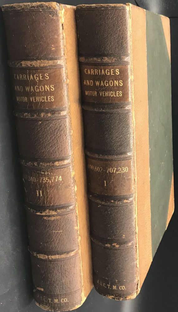 CARRIAGES, AND WAGONS, MOTOR VEHICLES. [spine titles]