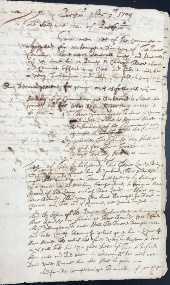 REPORT OF A COMMITTEE APPOINTED TO LAY OUT AND DIVIDE THE TOWN COMMONS, PORTSMOUTH [NEW HAMPSHIRE], NOVEMBER 7th, 1709.