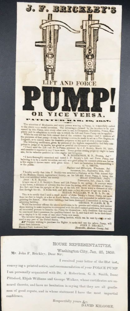 J.F. BRICKLEY'S LIFT AND FORCE PUMP! OR VICE VERSA. Patented March 10, 1857 [Caption title].