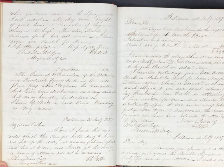 MANUSCRIPT LETTER COPYBOOK OF BALTIMORE BUSINESSMAN CHARLES DAVIS, HIS MERCANTILE AND FINANCIAL OPERATIONS IN BALTIMORE, HAGERSTOWN, AND CUMBERLAND, MARYLAND, AND INCLUDING DEALINGS IN NEW ORLEANS, SAN FRANCISCO, etc., FROM THE TIME OF THE PANIC OF 1837 TO 1858. Charles W. Davis, ca.