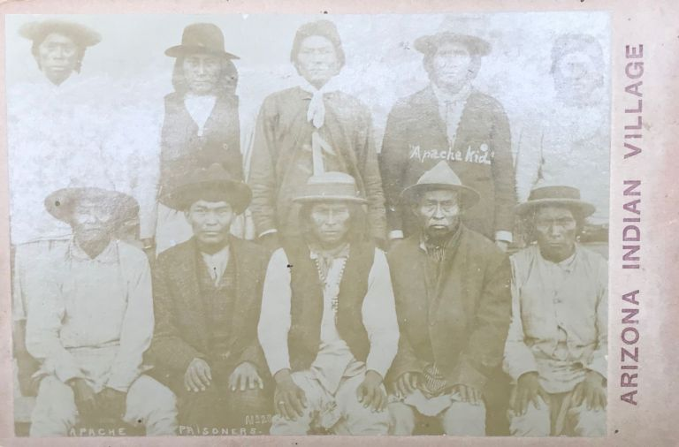 """ORIGINAL PHOTO OF A GROUP OF APACHE PRISONERS, INCLUDING THE """"APACHE KID."""""""