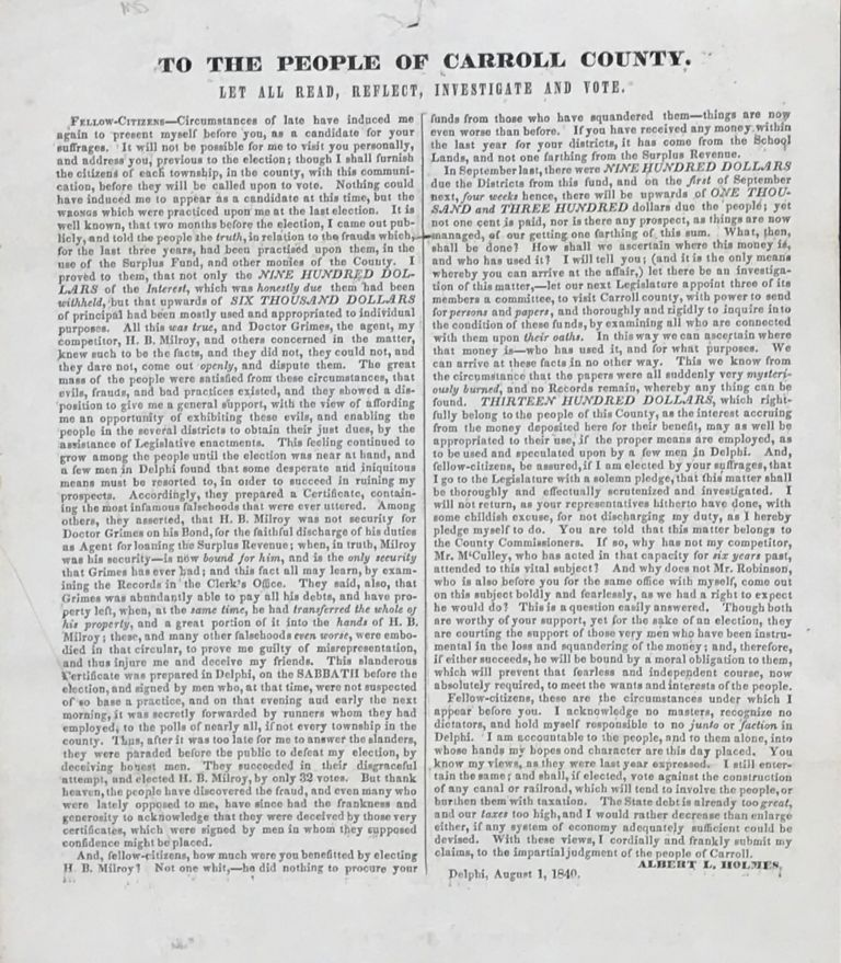TO THE PEOPLE OF CARROLL COUNTY. LET ALL READ, REFLECT, INVESTIGATE AND VOTE. [caption title, followed by two columns of text]. Albert L. Holmes.