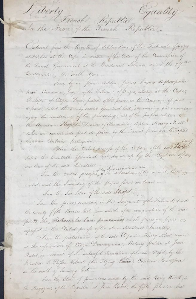 THE CAPTURE OF THE SLOOP DIANA BY FRENCH PRIVATEERS, ONE OF THE EPISODES WHICH LED TO THE UNITED STATES' QUASI-WAR WITH FRANCE. A COLLECTION OF SEVEN MANUSCRIPT DOCUMENTS AND ONE PARTLY PRINTED DOCUMENT, REGARDING THE CASE .