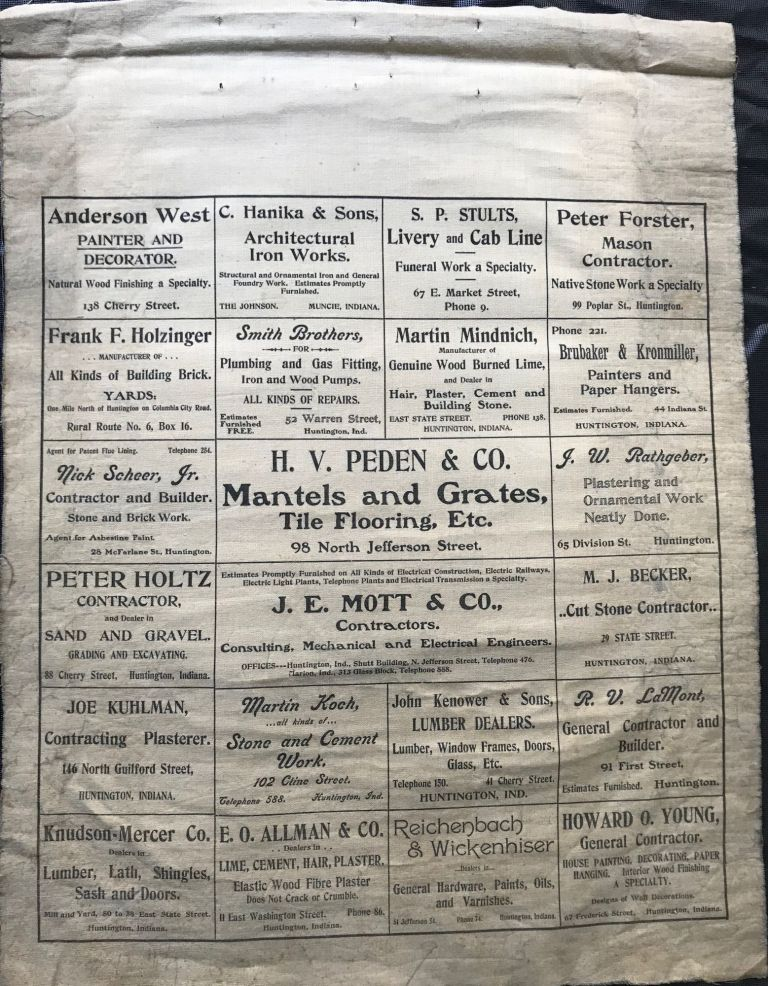 ADVERTISING DIRECTORY OF PRIMARILY BUILDING SUPPLIES AND THE HOUSE CONSTRUCTION BUSINESSES, all but one in Huntington, Indiana