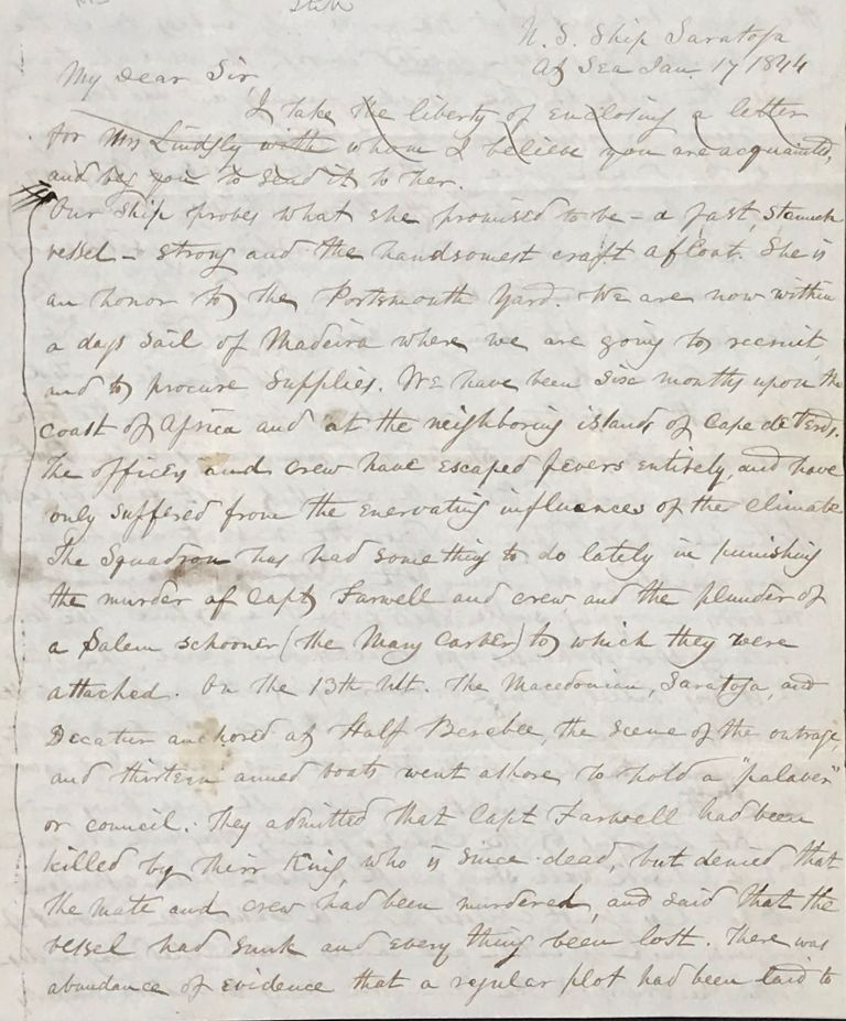 """REPORT FROM THE U.S. SHIP SARATOGA, """"AT SEA"""" PATROLLING THE AFRICAN COAST TO ENFORCE THE LAWS FOR THE SUPPRESSION OF THE SLAVE TRADE IN 1844. AUTOGRAPH LETTER, SIGNED FROM THE PURSER HORATIO BRIDGE TO HON. JOHN FAIRFIELD, U.S. SENATE, WASHINGTON, D.C. Horatio Bridge."""