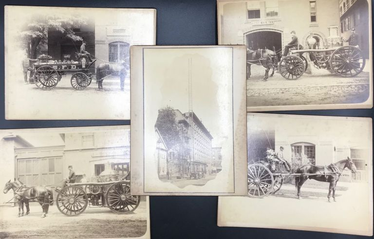 THE SPRINGFIELD, MASSACHUSETTS FIRE DEPARTMENT, ca.1890s, DEPICTED IN A GROUP OF 19 ORIGINAL PHOTOS DOCUMENTING THE CITY'S HORSE-DRAWN FIRE TRUCKS AND FIREFIGHTERS, PLUS 4 ADDITIONAL PHOTOS INCLUDING ONE OF PRES. McKINLEY'S VISIT TO SPRINGFIELD.