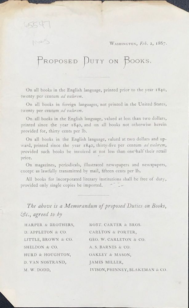PROPOSED DUTY ON BOOKS. [caption title]. Book Trade Circular.