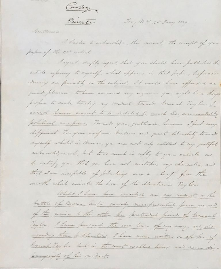 DEFENDING HIMSELF AGAINST NEWS ARTICLES INSINUATING HE WAS DISLOYAL TO GENERAL ZACHARY TAYLOR, IN A LETTER SIGNED, DATED 28 JANUARY 1849. John Wool, llis.