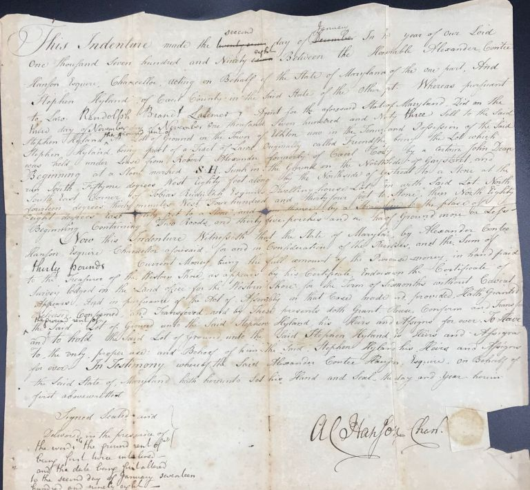 MANUSCRIPT DEED OF SALE BETWEEN HON. ALEXANDER CONTEE HANSON, ESQ., CHANCELLOR OF THE STATE OF MARYLAND AND STEPHEN HYLAND OF CECIL COUNTY, JAN. 2, 1798. Alexander Contee HANSON.