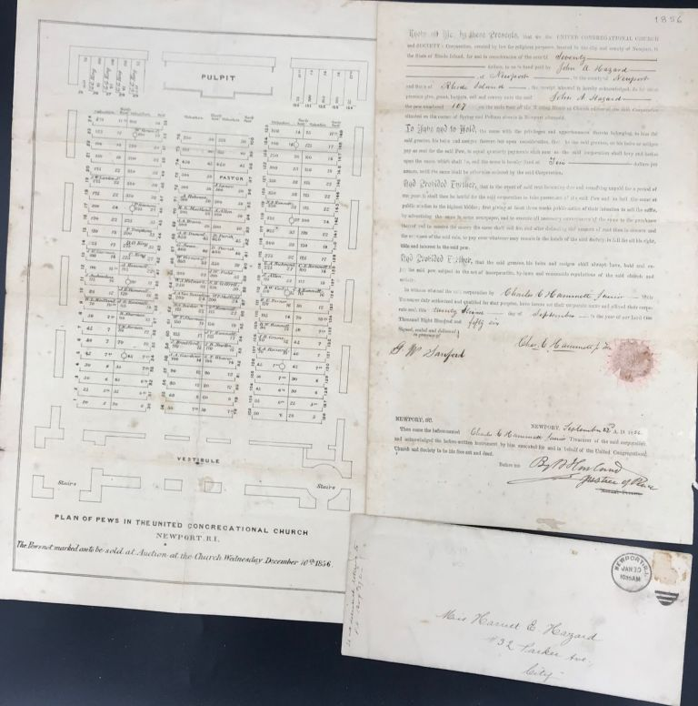 DEED OF SALE FOR PEW NUMBER 107 OF THE UNITED CONGREGATIONAL CHURCH, NEWPORT, RHODE ISLAND, TO JOHN A. HAZARD, SIGNED BY CHAS. E. HAMMETT, JR., TREASURER, SEPTEMBER 22, 1856. Charles E. Jr HAMMETT.