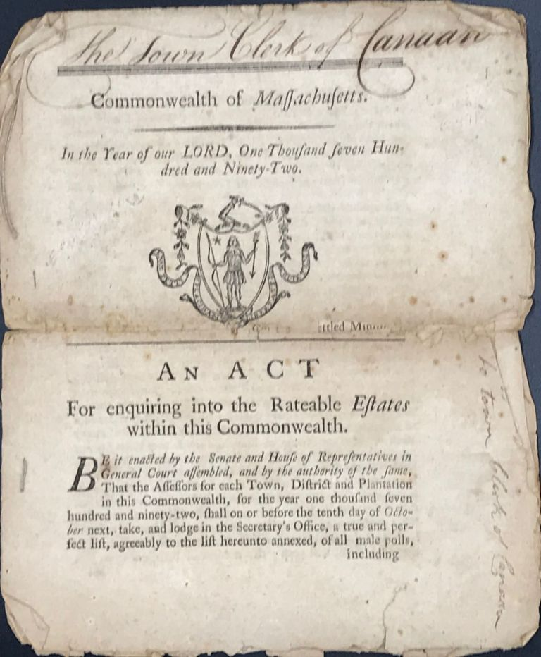 COMMONWEALTH OF MASSACHUSETTS. In The Year of Our Lord One Thousand Seven Hundred and Ninety-Two. An Act for Enquiring into the Rateable Estates within this Commonwealth.