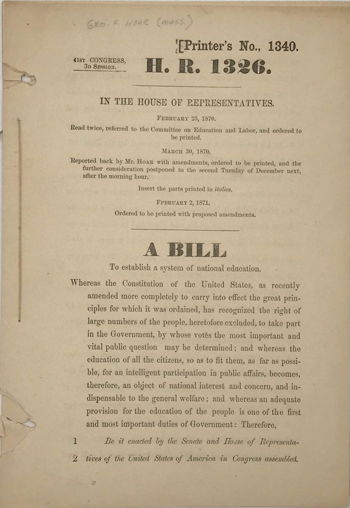 A BILL TO ESTABLISH A SYSTEM OF NATIONAL EDUCATION [caption title].