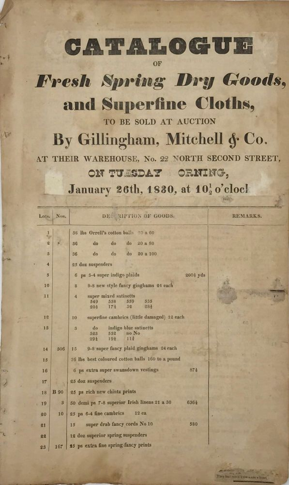 CATALOGUE OF FRESH SPRING DRY GOODS, and Superfine Cloths, to Be Sold at Auction by Gillingham, Mitchell & Co., at Their Warehouse, No. 22, North Second Street, on Tuesday [M]orning, January 26th, 1830, at 10 ½ o'clock [drop-title]