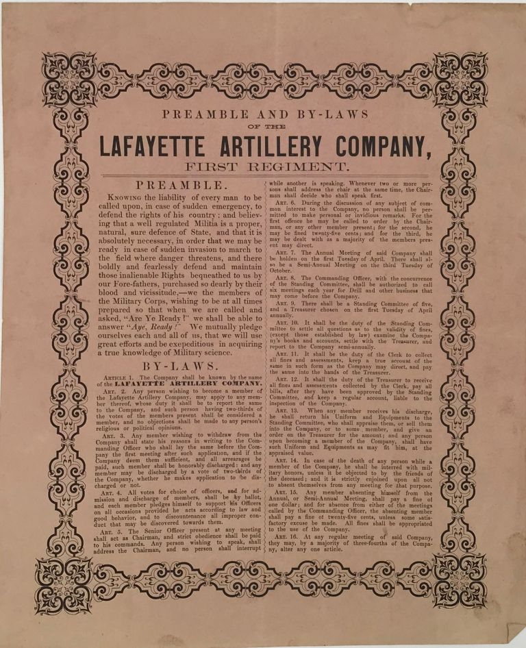 PREAMBLE AND BY-LAWS / OF THE/ LAFAYETTE ARTILLERY COMPANY, / First Regiment [drop-title followed by the preamble and 16 numbered articles in the by-laws, printed in two columns separated by a thin rule].