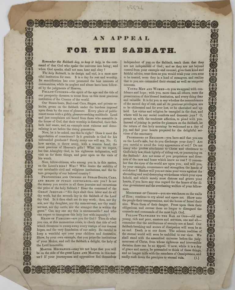 AN APPEAL / FOR THE SABBATH [drop-title followed by 13 paragraphs of text in two columns separated by a thin ornamental rule, title and text enclosed within an ornamental border]