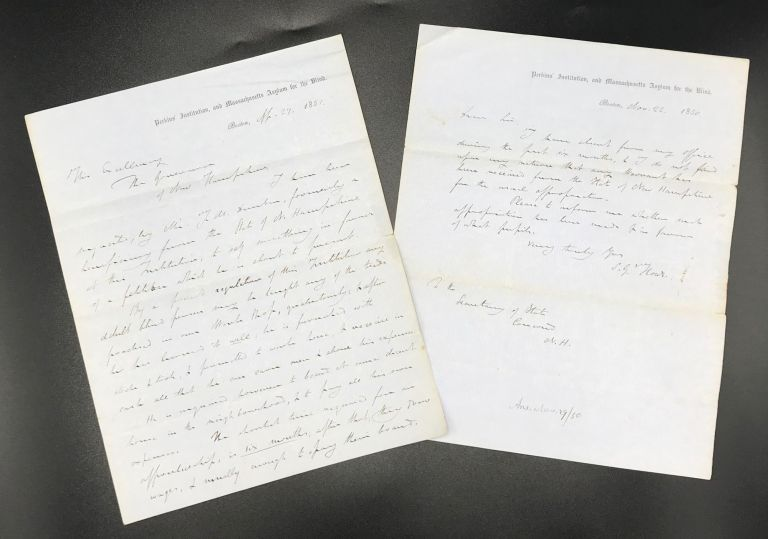 REGARDING MONETARY APPROPRIATIONS FROM THE STATE OF NEW HAMPSHIRE FOR PUPILS AT THE PERKINS INSTITUTION, AND MASSACHUSETTS ASYLUM FOR THE BLIND, TWO AUTOGRAPH LETTERS, SIGNED BY SAMUEL G. HOWE, 1850 & 1851. Samuel G. HOWE.