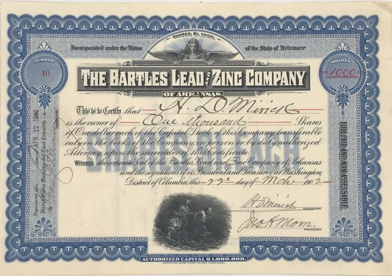 THE BARTLES LEAD AND ZINC COMPANY OF ARKANSAS. Stock Certificate.