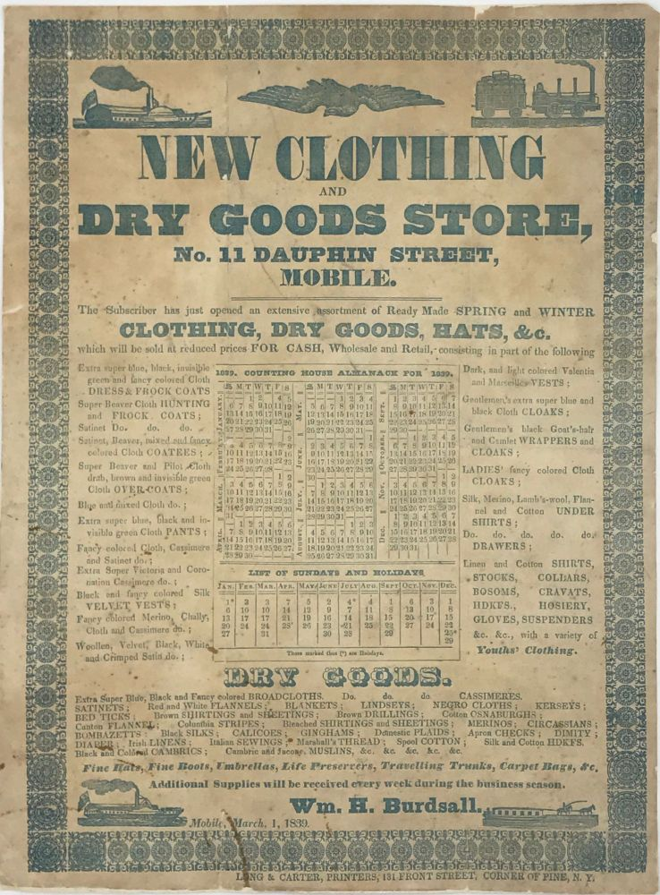 NEW CLOTHING AND DRY GOODS STORE, No. 11 Dauphin Street, Mobile. Alabama, Mobile.