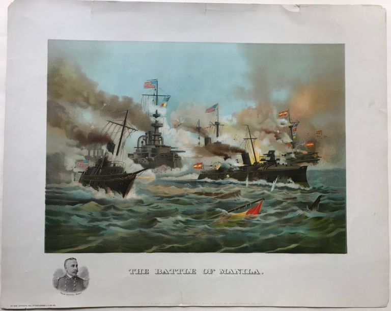 THE BATTLE OF MANILA. Fought May 1st by Rear Admiral Dewey. Spanish loss 11 ships. 150 killed. 250 wounded. Amrican loss: None. Spanish American War.