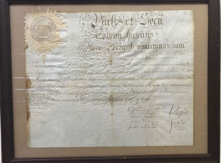 YALE BACCALAUREATE DIPLOMA OF DAVID ELY, dated September 13, 1769. Latin. With Official Seal. Yale University.